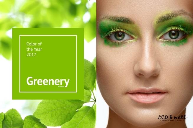 Kolor roku Pantone 2017 Greenery, odcień, makijaż w najmodniejszym kolorze