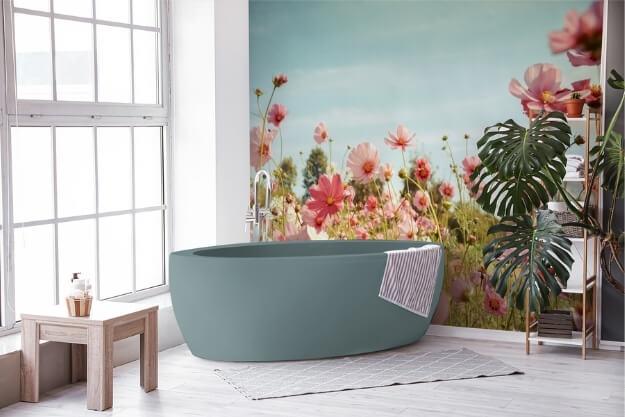 fototapeta do łazienki, dekoracja w stylu naturalnym