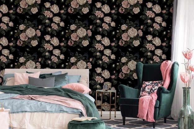 fotokwiecista tapeta do sypialni w stylu naturalnym